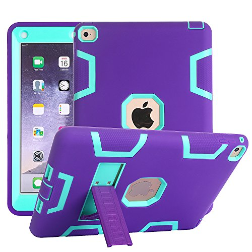 iPad Air 2 Case, Rugged Kickstand Series - Shockproof Heavy Duty Hybrid Three Layer Armor Defender Kids Child Proof Case Cover - Purple Teal