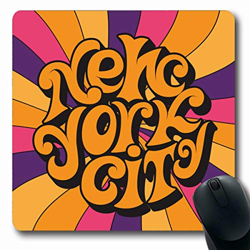 VivYES Gaming Mousepad Custom America Groovy New York City Classic Psychedelic 60 Hippie 70 Lettering Disco Hippy Funky Music Oblong Shape 7.9 x 9.5 Inches Rectangle Non-Slip Rubber Mouse Pads