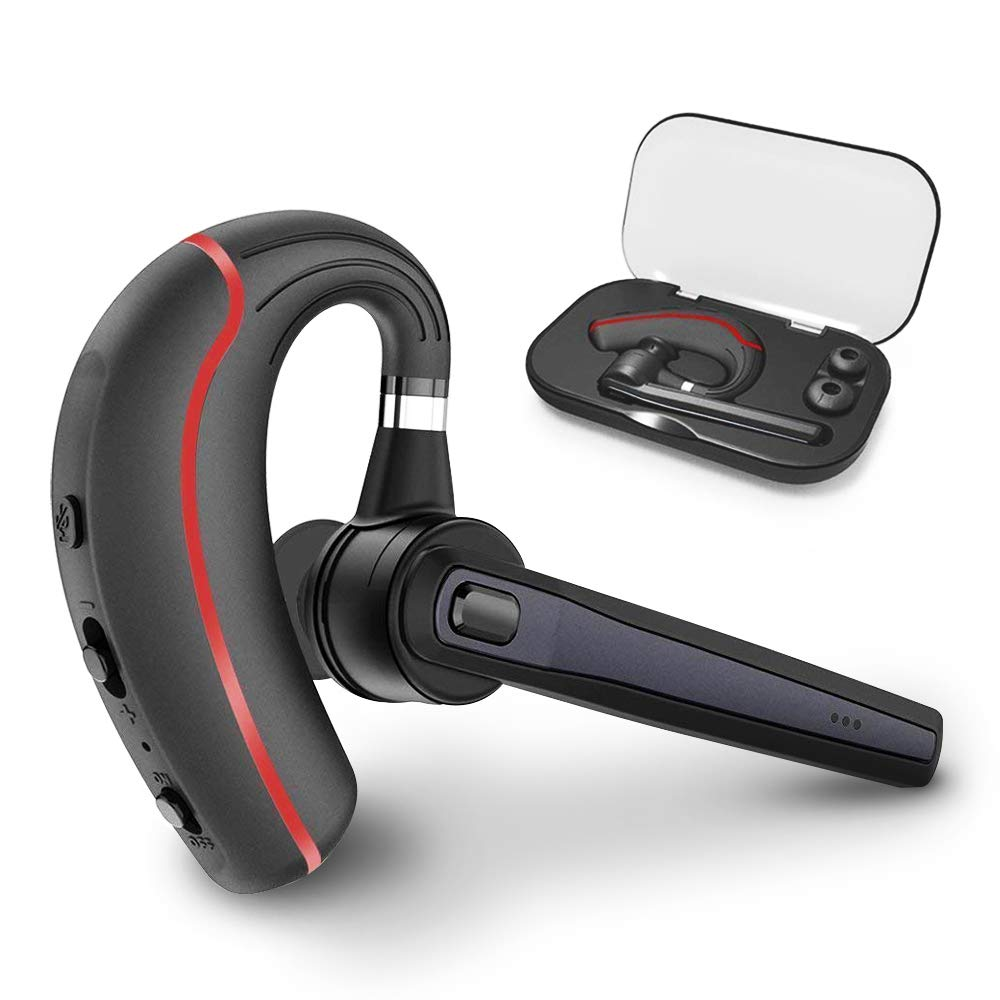 Bluetooth Headset, Hands Free Wireless Earpiece V5.0 with Microphone and Mute Key for Business/Office/Driving Calling, Support Siri/Google/Cortana Voice Assistant