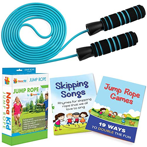 Nona Kid 2 Pack Jump Rope – for Kids and Adults – Easily Adjustable with Anti-Slip Handles – Plus Game Book and Skipping…