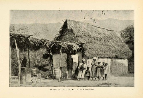 1901 Halftone Print Native Hut Santo Domingo Dominican Republic Dwelling Tribe - Original Halftone - Hut Santa