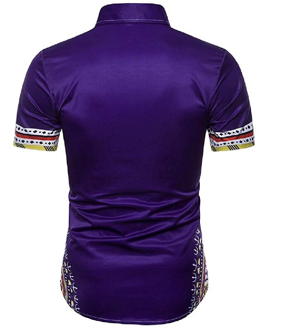 Sweatwater Mens African Print Folk Style Button Down Casual Short Sleeve Shirts
