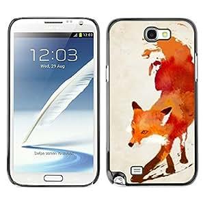 Caucho caso de Shell duro de la cubierta de accesorios de protección BY RAYDREAMMM - Samsung Galaxy Note 2 N7100 - Red White Watercolor Painting Art