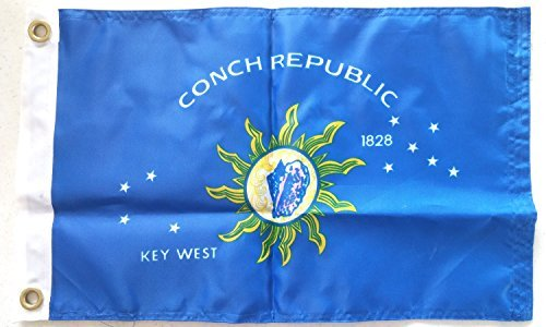 Key West Conch Republic Nylon Boat Flag, Embroidered, 12'' x 18'' by Ruffin