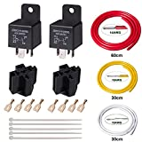 FOSHO Car Relay 24V 40A SPST 4PIN Socket with Terminals and AWG Copper Wire Harness, Automotive Relay Switch and Starters