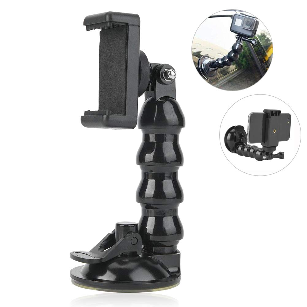 telecamera supporto per parabrezza per fotocamera per OSMO supporto per parabrezza per telecamera con ventosa Supporto flessibile con clip per telefono cellulare Ventosa per auto con supporto Gopro