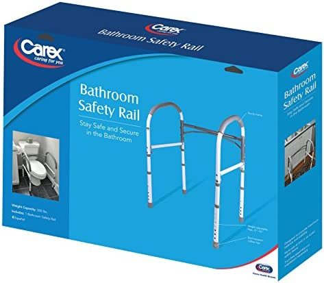 Carex Toilet Safety Rails – Toilet Handles for Elderly and Handicap – Home Health Care Equipment Toilet Safety Frame 51HBoaXtsdL