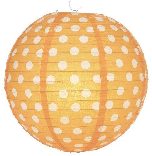 Quasimoon PaperLanternStore.com Orange Polka Dot Paper Lantern