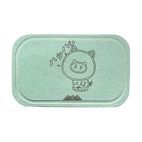 FlyMeteor Diatomite Soap Dish, Anti-bacterial Soap Bar Holder, Absorbent Soap Saver and Clay Coasters (Green Pig)