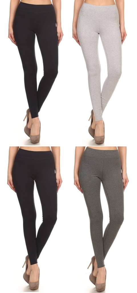 2ND DATE Women's Basic Cotton Stretch Leggings with Comfort Waistband-4 Pack