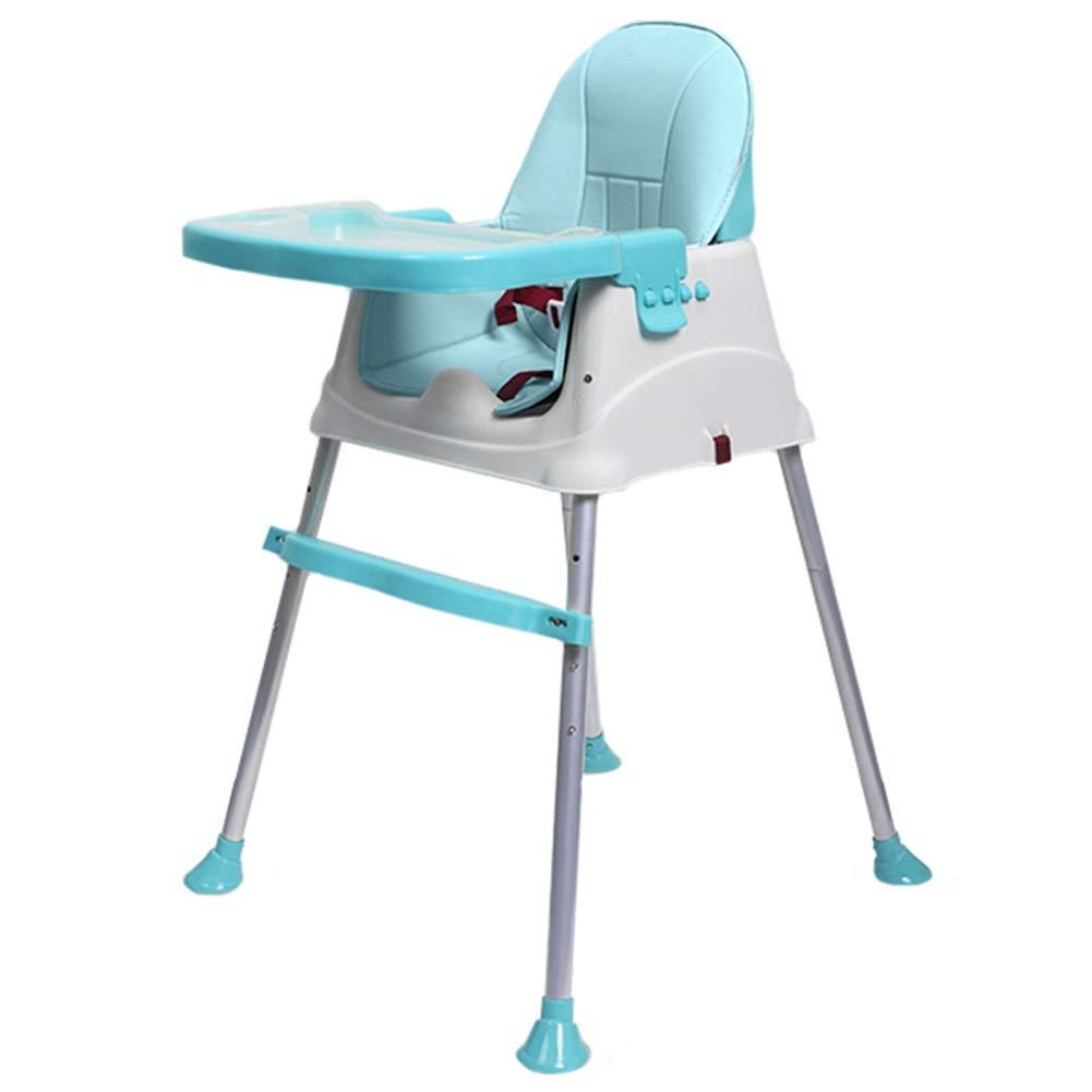 LXLA 4イン1 コンバーチブル ハイチェア 赤ちゃんと幼児のダイニング用 ハーネス、取り外し可能なトレイ、調節可能な脚付き ブルー 46480  ブルー B07NY1NGSS