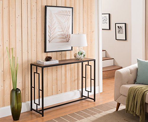 Reclaimed Weathered Oak Top / Black Metal Frame Console Sofa Table with Square Designs