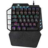 OuYang RGB Mechanical Keyboard Single Hand Gaming 38-Key 7 Colors LED Backlit USB Wired Multi-Device Gaming Keyboard for PC/Mac/iPad/iPhone/Smartphone/Laptop,Compatible with Windows/Apple System