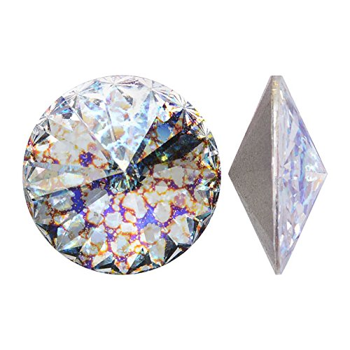 Swarovski Crystal Beads Fancy Earring - Swarovski Crystal, 1122 Rivoli Chatons 14mm, 2 Pieces, Crystal White Patina F