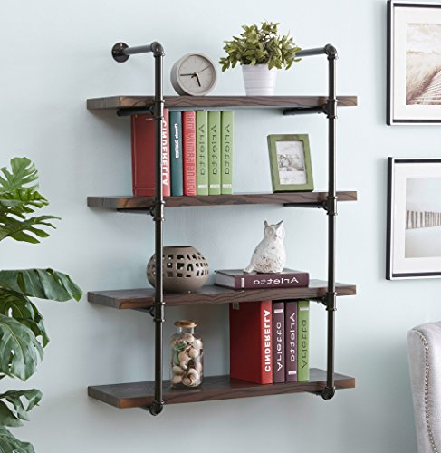 Homissue 4-Shelf Rustic Pipe Shelving Unit, 31.5-Inch Vintage Industrial Metal Bookcases, - Vintage Aesthetic
