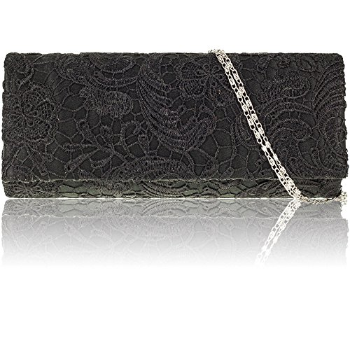 Evening Bridal Floral Black Satin Clutch Bag Lace Prom Women Ladies Designer Party New Zarla gqTS8Z8
