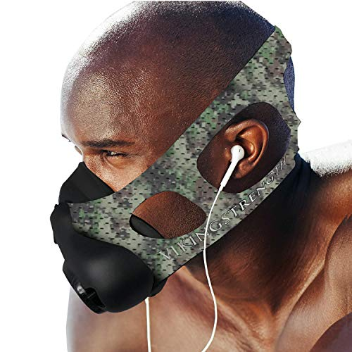 Vikingstrength New 24 Levels Training Workout Mask for Running Biking MMA Endurance with Adjustable Resistance, High Altitude Elevation Mask for Air Resistance Training (Green Digital Cammo)