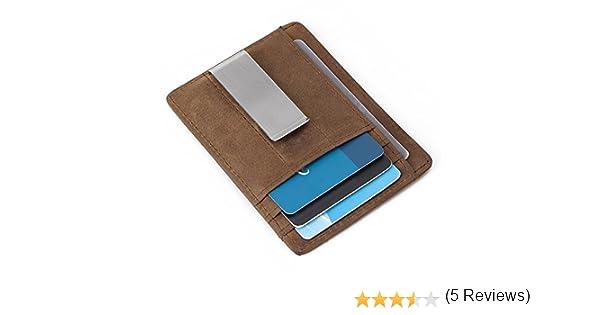 Teemzone Tarjeta de Cr/édito y Monedero de Piel con RFID Bloqueo Mini Billetera para Tarjetas de Cr/édito Hombre