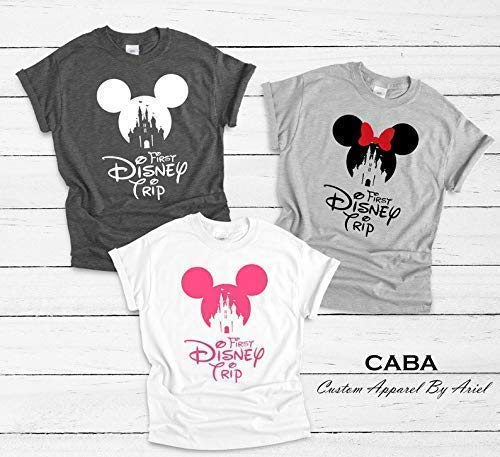 db23a9497 Amazon.com: My First Disney Trip Shirt, Matching Disney Shirts, Minnie  Shirts, First Disney Trip, Family Vacation Disney Outfits,: Handmade
