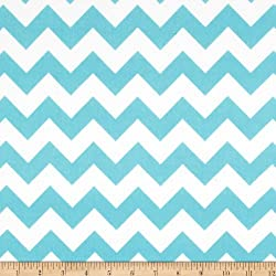 Riley Blake Medium Chevron Flannel Aqua Fabric By The Yard