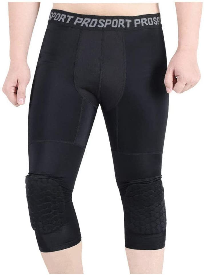Rayauto 3//4 Capri Compression Training Pants with Honeycomb Knee Pad,Basketball Protector Gear for Adult Youth
