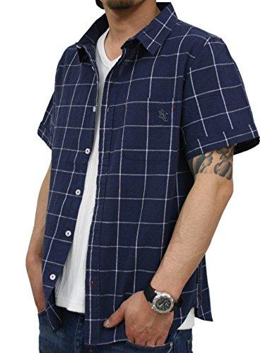 チェックシャツ半袖綿麻メンズリネンシャツrcss7343ck(M,NAVY)