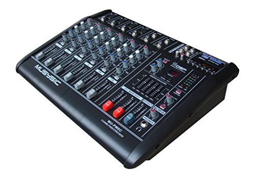 8 Channel Professional 4000 Watts Powered Mixer With USB/SD Slot 16 DSP (Digital Multi-Effects) by MUSYSIC