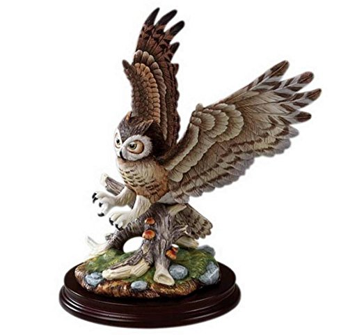Sadek Great Horned Owl Hand Painted Porcelain Sculpture Figurine Andrea