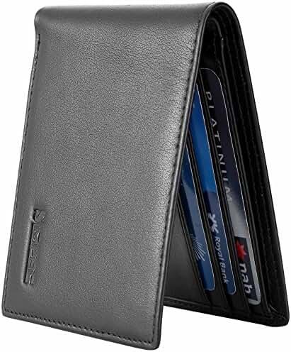 SimpacX Ultimate Slim Mini Wallet Front Pocket Minimalist Wallet Bifold Genuine Leather RFID Blocking