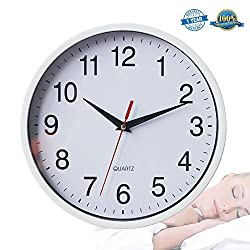 Silent Wall Clock Non-ticking Clock 10 White Battery Operated Round Easy to Read Decor Wall Clock For Home/Office/School