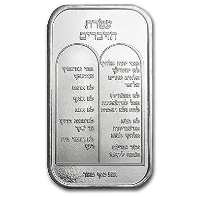 1 oz. Silver Ten Commandments Bar in Hebrew