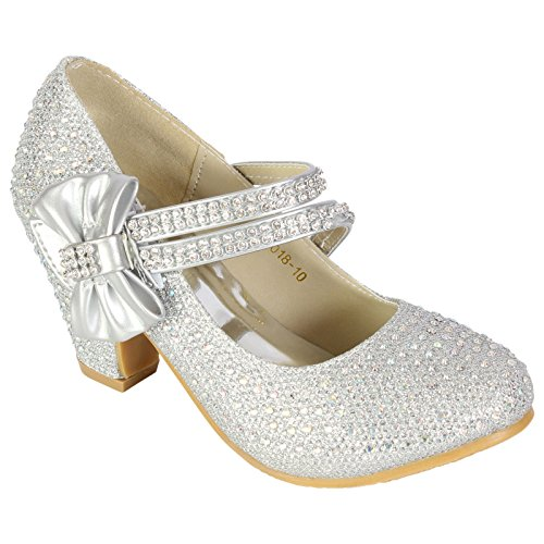 Bow Zapatos Para Mary De Jane A Tacn Estilo Con Boda Silver Ni Myshoestore Bajo Imitacin Diamantes ZwRfdR