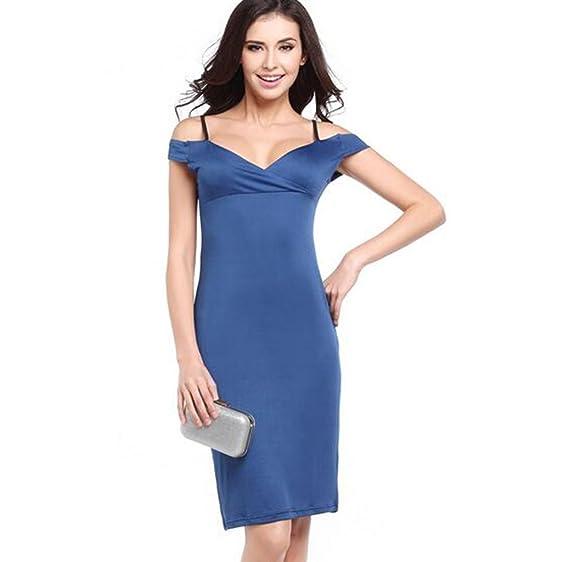 GWELL Fashion Damen Schulterfrei Kleider Etuikleid Cocktailkleid Partykleid  Business Bodycon blau S