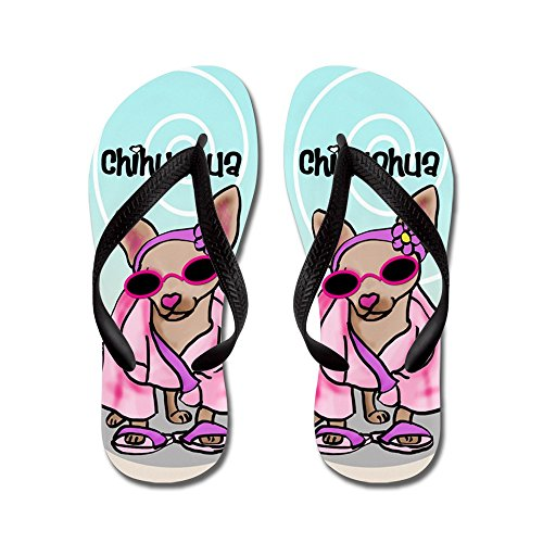 CafePress Chihuahua FF - Flip Flops, Funny Thong Sandals, Beach Sandals Black