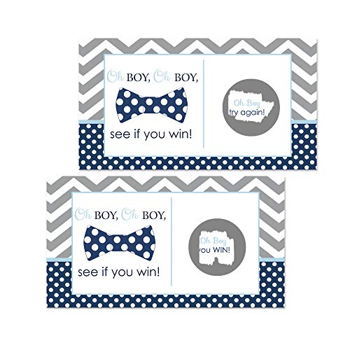 Bow Tie Baby Shower Scratch Off Game Cards - 28 Pack
