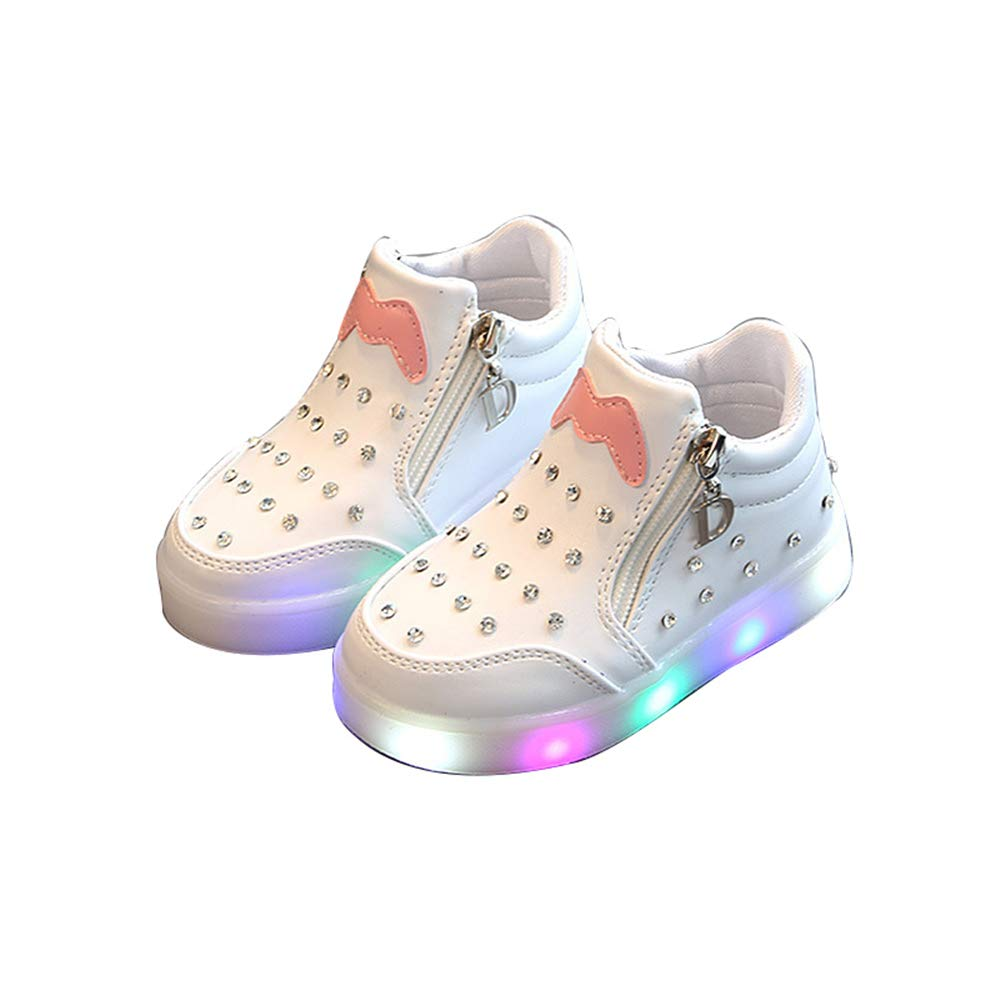 edv0d2v266 Toddler Kids Skate Shoes Children Baby Shoes LED Light up Luminous Sneakers(White 22/5.5 M US Toddler)