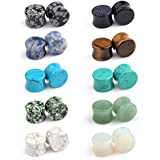 Ruifan 10 Pairs Set Natural Mixed Stone Saddle Ear Plugs Stretcher Expander Tunnels Gauges Piercing Jewelry 00g(10mm)