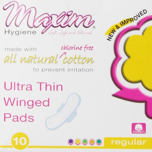 Maxim Ultra Thin, Winged, Chlorinie Free, Hypoallergenic Pads, Daytime, 10 Count (Winged Pads)