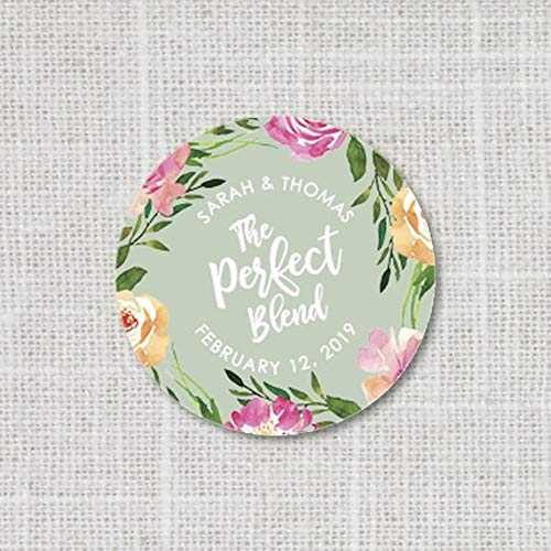 The Perfect Blend Stickers, Wedding Favor Stickers, Tea Favors or Coffee Favor Labels, Floral Wedding Favor Stickers, 16:6