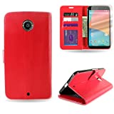 Nexus 6 Case, Flip Stand Faux Leather Wallet Pouch [CoverON Executive] Credit Card ID Slots and Cash Pocket [Soft Touch Synthetic PU Folio Style] Phone Cover Case for Motorola Google Nexus 6 - Red