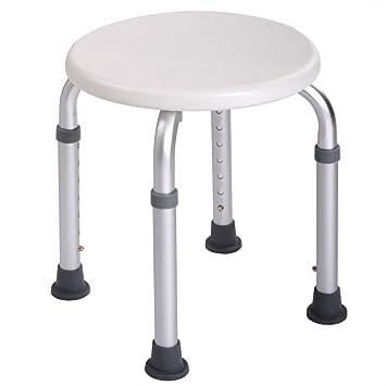 Attirant Bath Shower Chair Adjustable Medical 6 Height Bench Bathtub Stool Seat  White New   Round