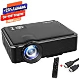 Projector, 2400 Lumens LED Mini Projector 1080P Support, SOMEK Outdoor Portable Movie Video Projectors, Home Theater Projector, Compatible with TV HDMI USB VGA AV Laptop DVD Television (Projector)