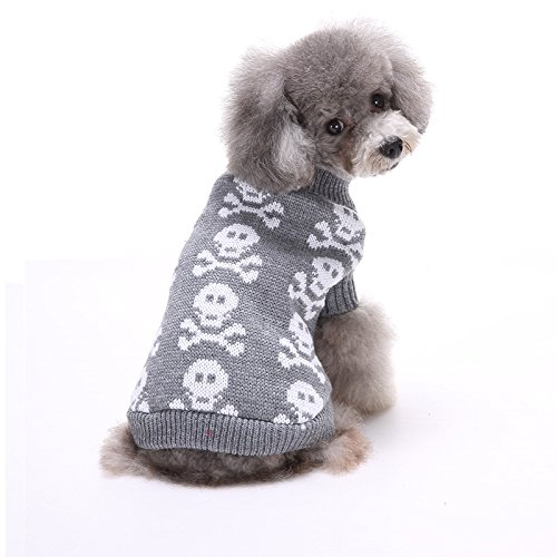 Dogs Halloween (S-Lifeeling Skull Dog Sweater Holiday Halloween Christmas Pet Clothes Soft Comfortable Dog Clothes - Grey)