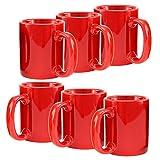 Creative Home Ceramic Coffee Mug, Tea Cup (Set of 6), 12 oz, Red