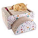 PrimePets Cat Scratcher Lounge, Recycle Corrugated Cat Scratching Cardboard Bed Sofa, 2-in-1 Removable Cat Scratching Cardboard Cube Insert with Catnip and Bell Toys