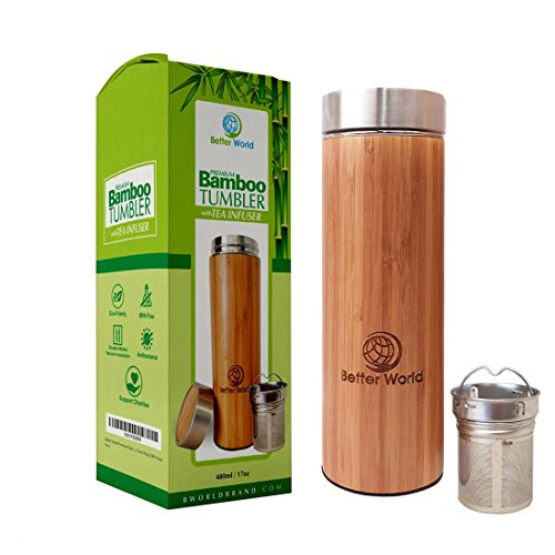 Better World Premium Bamboo Tumbler with Tea Infuser | 17oz Stainless Steel Water Bottle | Vacuum Insulated Coffee Travel Mug | BPA-Free |