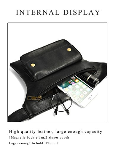 Dreambox parejas multifunción paquetes de cintura de cuero negro con Cell Phone Pouch