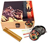 Cali Factory Rasta Design - Large size Sacred Geometry Stash Box with Latch, Grinder & Pop Top Glass Jar Package & Free Accessories Item# LBCS020818-3