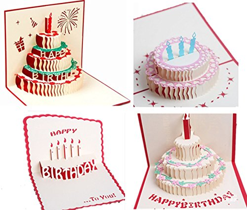 3D Birthday Cards Pop Up Happy Birthday Greeting Card,4 Pack (4 pack)