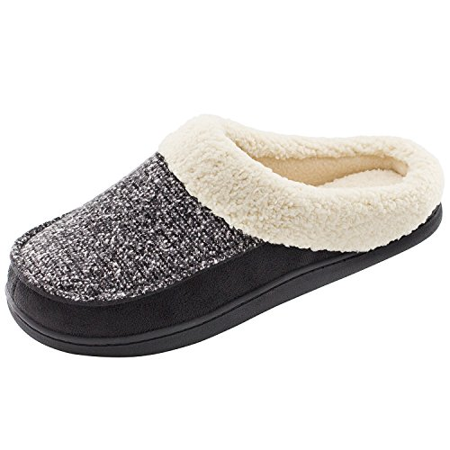 HomeTop Women's Indoor Outdoor Wool Tweed Plush Fleece Slip On Memory Foam Clog House Slippers